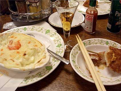 神谷バーで電気ブラン、エビグララン、串カツ