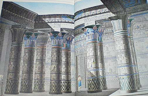 フィラエ島の大神殿柱廊の内部