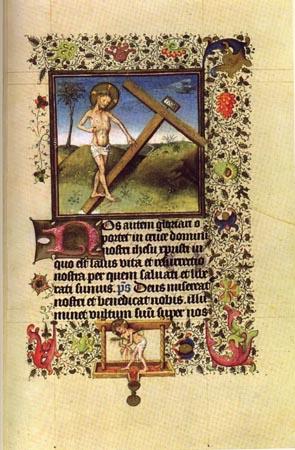 ワイン絞り器に挟まれたイエス様が血を流して、それが絞り口にあるカリス(聖杯)に集まっている図