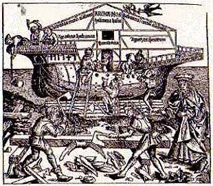 ノアが箱舟の建造を指示している図