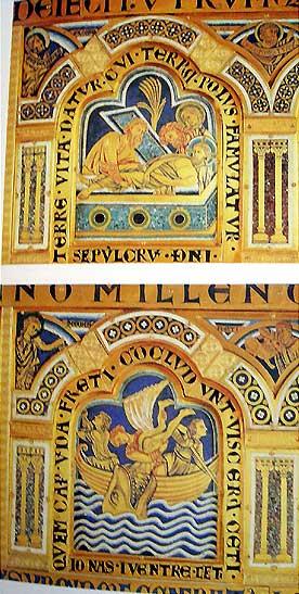 「キリストの埋葬」、「鯨の腹に呑み込まれたヨナ」。クロースターノイブルク聖壇