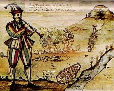 マルクト教会のガラス絵の模写による最古の「ハーメルンの笛吹き男」