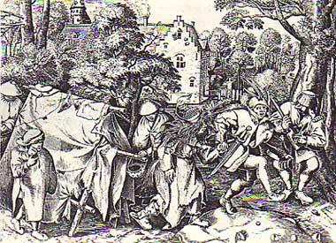 天幕の前で踊る乞食たち(ブリューゲル)