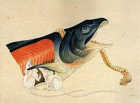 「肉筆画帳」塩鮭と鼠