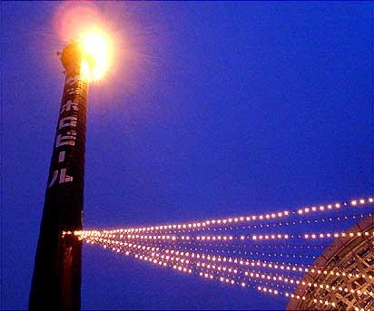 札幌ファクトリー 煙突の夜景